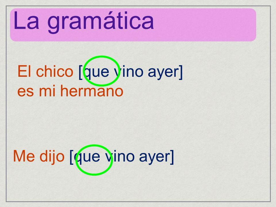 La gramática El chico [que vino ayer] es mi hermano